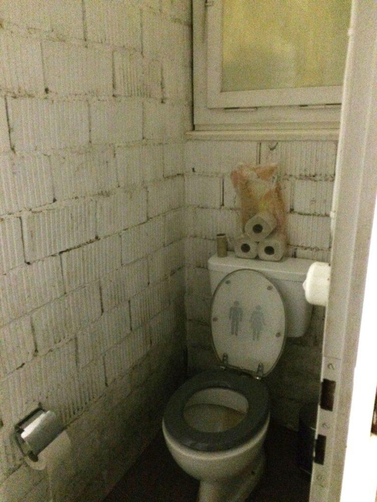 Stall-WC vor der Sanierung.